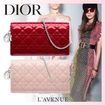 Christian Dior LADY DIOR Other Check Patterns Calfskin 2WAY Chain Party Style
