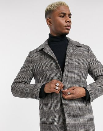 Other Check Patterns Wool Street Style Long Coats