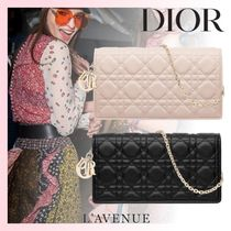 Christian Dior LADY DIOR Other Check Patterns Lambskin 2WAY Chain Party Style