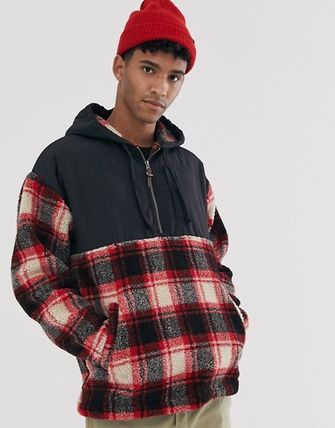 Short Other Check Patterns Street Style Jackets