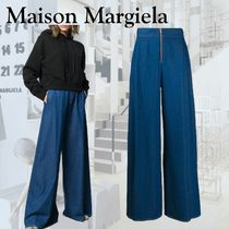 Maison Martin Margiela Denim Plain Cotton Long Wide & Flared Jeans
