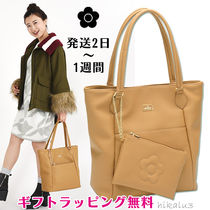 MARY QUANT Casual Style Faux Fur A4 Plain Office Style Totes