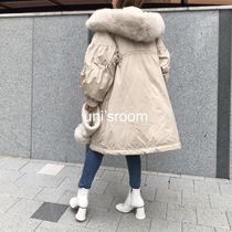 Fur Plain Medium Long Oversized Parkas
