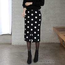 Pencil Skirts Dots Casual Style Nylon Medium Midi Skirts