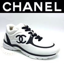 CHANEL SPORTS Plain Toe Rubber Sole Casual Style Blended Fabrics