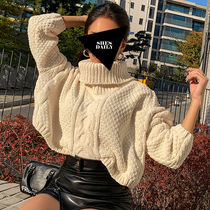 Cable Knit Casual Style Nylon Long Sleeves Plain High-Neck