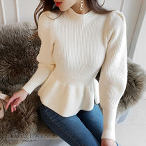 Casual Style Long Sleeves Plain Medium High-Neck Sweaters
