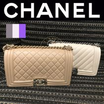 CHANEL BOY CHANEL Casual Style Calfskin Street Style 2WAY Chain Plain Leather