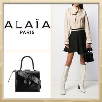 Azzedine Alaia Casual Style Studded 2WAY Plain Leather Party Style Handbags