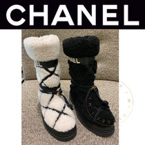 CHANEL ICON Other Plaid Patterns Plain Toe Rubber Sole Casual Style