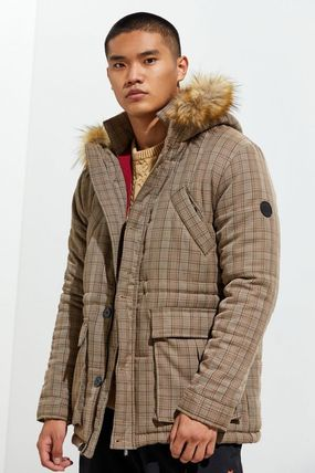 Other Plaid Patterns Faux Fur Street Style Long Military