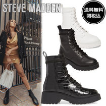 Steve Madden Round Toe Lace-up Casual Style Faux Fur Plain Leather Python