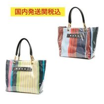 MARNI Stripes Casual Style Street Style Logo Totes