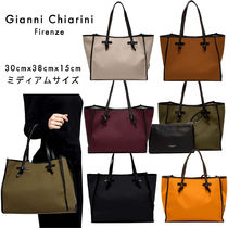GIANNI CHIARINI Casual Style Canvas A4 Plain Leather Totes