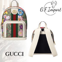 GUCCI Ophidia Flower Patterns Calfskin Canvas Street Style Elegant Style