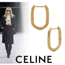 CELINE Brass Office Style Formal Style  Earrings