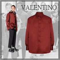 VALENTINO Button-down Street Style Long Sleeves Plain Oversized Bold