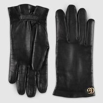 GUCCI Unisex Plain Leather Logo Leather & Faux Leather Gloves