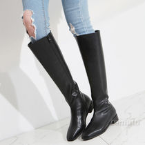Square Toe Casual Style Faux Fur Plain Mid Heel Boots