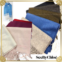 See by Chloe Unisex Wool Cashmere Plain Heavy Scarves & Shawls