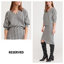 RESERVED Gingham Plain Puff Sleeves Shirts & Blouses