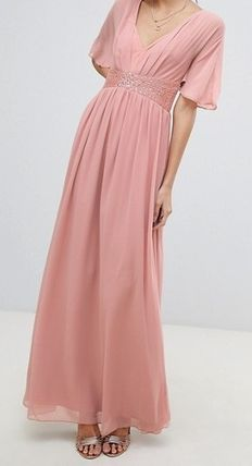 Maxi Chiffon V-Neck Plain Long Party Style Puff Sleeves