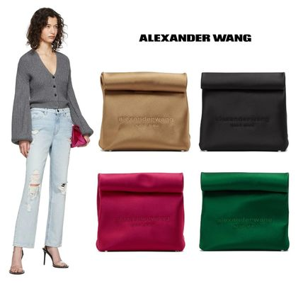 Casual Style Plain Logo Clutches