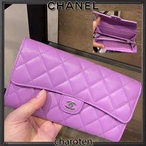 CHANEL TIMELESS CLASSICS Lambskin Plain Leather Long Wallets