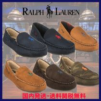 Ralph Lauren Gingham Other Check Patterns Plain Toe Moccasin Unisex Suede