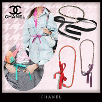 CHANEL Casual Style Blended Fabrics Leather Party Style
