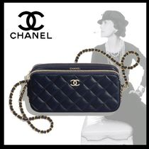 CHANEL Casual Style Calfskin Blended Fabrics Chain Party Style