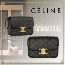 CELINE Triomphe Casual Style Canvas Leather Elegant Style Shoulder Bags