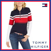 Tommy Hilfiger Stripes Street Style Plain Cotton Medium Short Sleeves