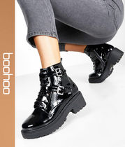 boohoo Casual Style Faux Fur Chunky Heels Ankle & Booties Boots