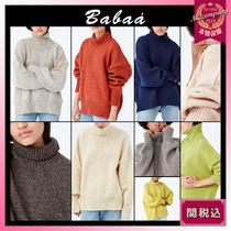 Babaa Casual Style Wool Long Sleeves Plain Medium Long