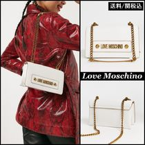 Love Moschino Faux Fur Chain Plain Shoulder Bags
