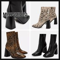 Missguided Square Toe Faux Fur Block Heels Python Ankle & Booties Boots