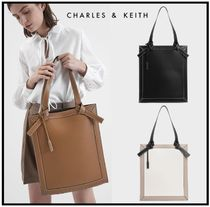 Charles&Keith Casual Style Faux Fur A4 Plain Elegant Style Totes