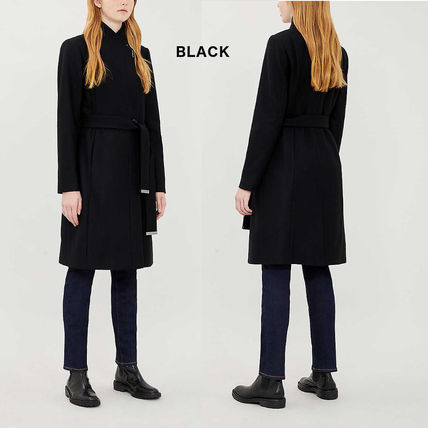 Wool Cashmere Plain Medium Logo Coats