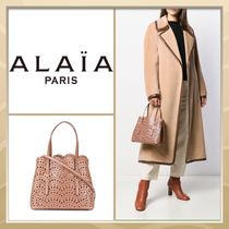Azzedine Alaia Casual Style A4 Plain Leather Office Style Elegant Style