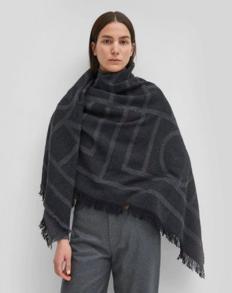 Monogram Casual Style Wool Cashmere Street Style Fringes