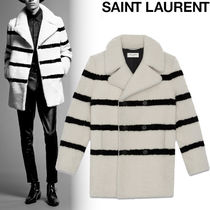 Saint Laurent Short Stripes Fur Blended Fabrics Street Style Plain