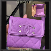 CHANEL ICON Unisex Calfskin Plain Leather Folding Wallets