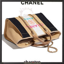 CHANEL DEAUVILLE Stripes Casual Style Unisex Calfskin Canvas A4 3WAY Bi-color