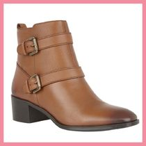 Lipsy Round Toe Casual Style Plain Leather Chunky Heels