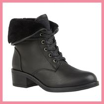 Lipsy Round Toe Lace-up Casual Style Plain Chunky Heels