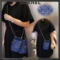 CHANEL ICON Casual Style Unisex Denim 2WAY Bi-color Chain Plain