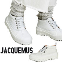 JACQUEMUS Round Toe Lace-up Casual Style Street Style Leather
