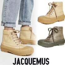JACQUEMUS Round Toe Rubber Sole Lace-up Casual Style Street Style