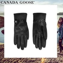 CANADA GOOSE Leather Logo Leather & Faux Leather Gloves
